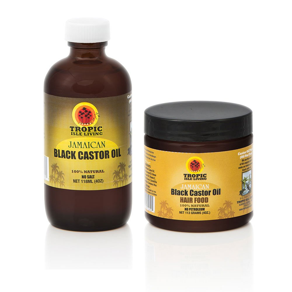 Tropic Isle Living Jamaican Black Castor Oil Hair Food + Jamaican Black Castor Oil 4oz Set