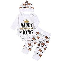 Anywow Newborn Unisex Baby 3pcs Outfits Buchstaben Langarm Strampler Body + Krone Gedruckt Hosen + Hut Daddy Will Always Be My King Brief gedruckt Kleidung Set 0-18 Monate