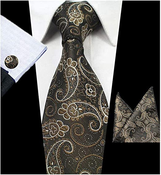 New Mens Ties Classic Stripe Tie Set for Men Silk Woven Hanky Cufflinks Necktie