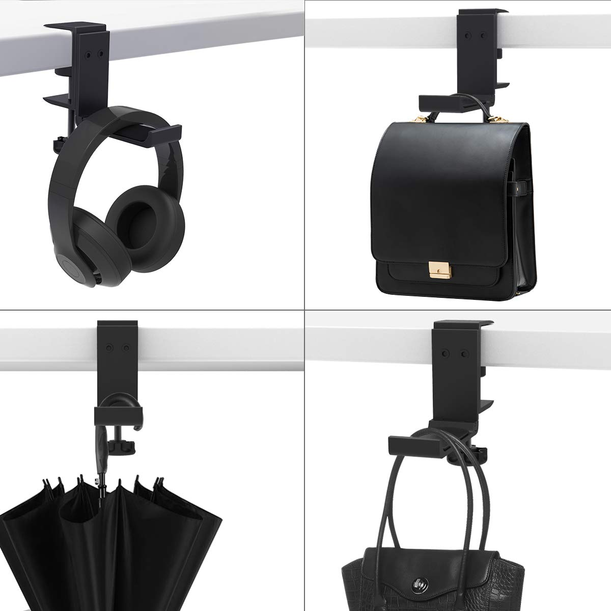 Universal Fit All Headphones Black Foldable Headphone Stand Hanger Holder Bracket Aluminum Headphones Headset Clamp Hook Under Desk Space Save Mount Fold Upward Not in Use