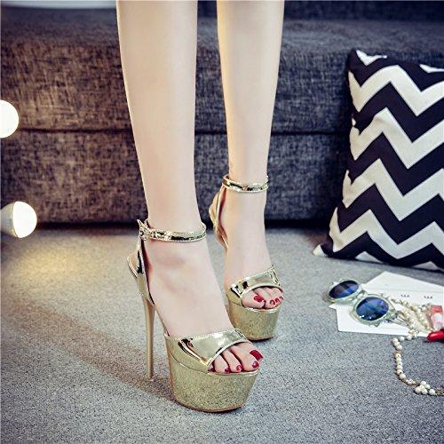Xing Lin Zapatos De Verano Para Las Mujeres Cuñas Verano De 14Cm De Alto Con Zapatos Con Oro Fino 16Cm Tabla Impermeable Discotecas Sandalias De Amarre Ranurados Hembra The Gold