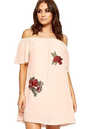 7a59bdf554087 WEARALL Women s Off Shoulder Bardot Mini Dress Floral Rose Print ...