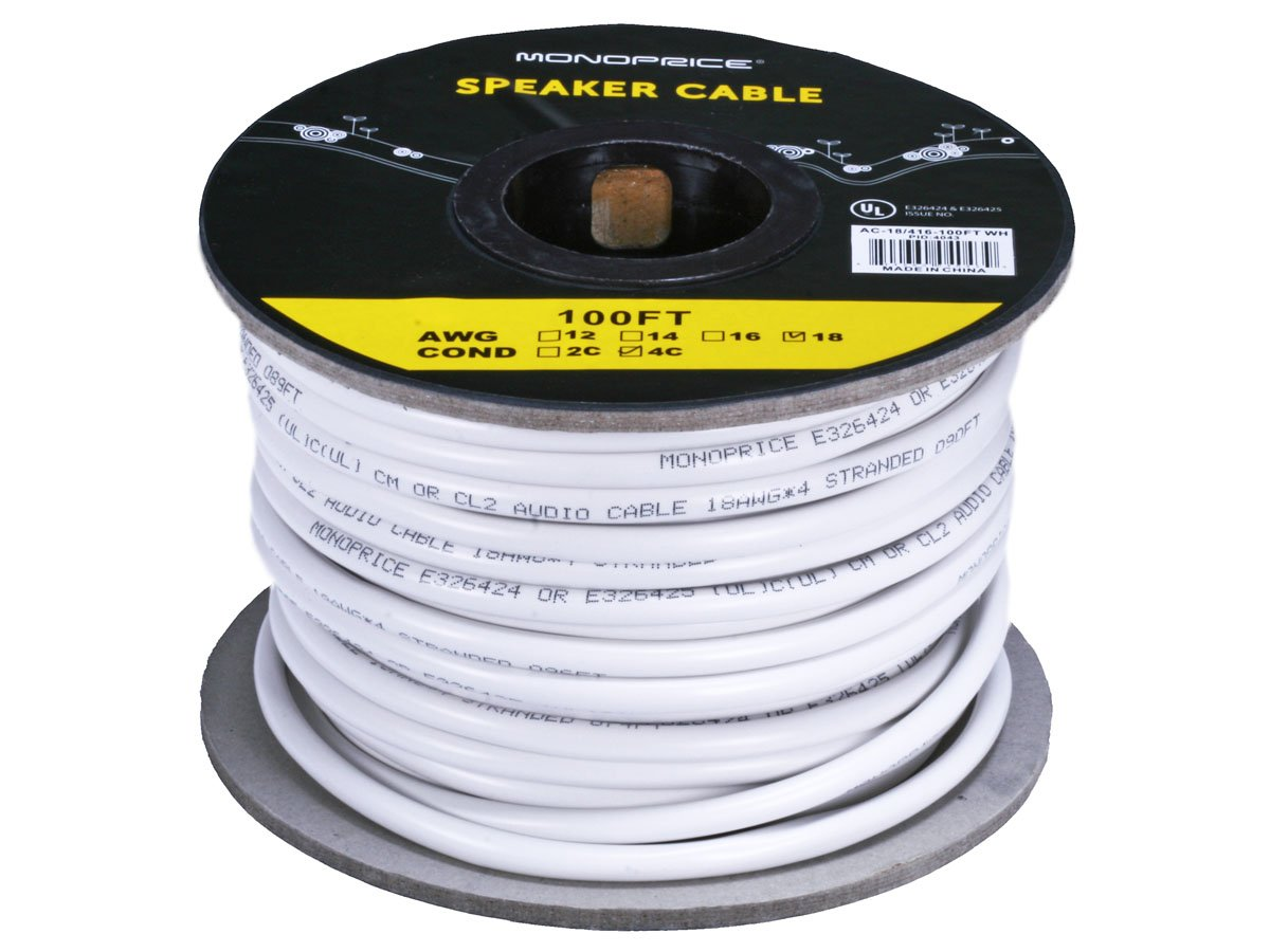 Monoprice 102821 Access Series 14 Gauge Awg Cl2 Rated 2 Audio Wiring Supplies Conductor Speaker Wire Cable 250ft Fire Safety In Wall Jacketed White Pvc