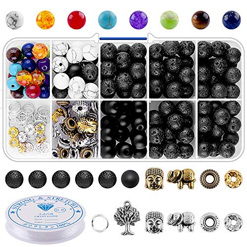 - Beads for Jewelry Making Supplies Adults - 8mm Volcanic Lava Rock Beads Bulk Chakra Beads Spacer Beads for Essential Oil Yoga Diffuser Meditation DIY Bracelets Adult Jewelry Making Supplies (214pcs)
