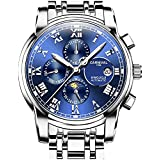 CARNIVAL Mens Automatic Machine Silver Stainless Steel Sapphire Waterproof Mens Multifunction Blue Watch