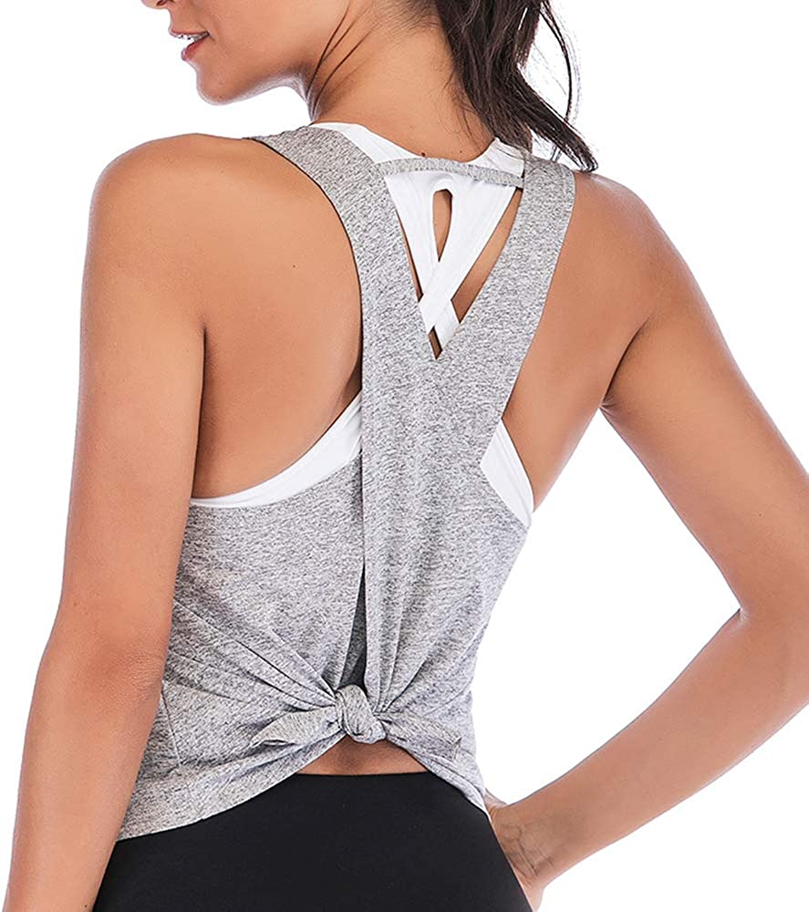 HOMETA Workout Tank Tops for Women Racerback Athletic Tops Tie Back Cross Yoga Shirts Exercise Running Gym