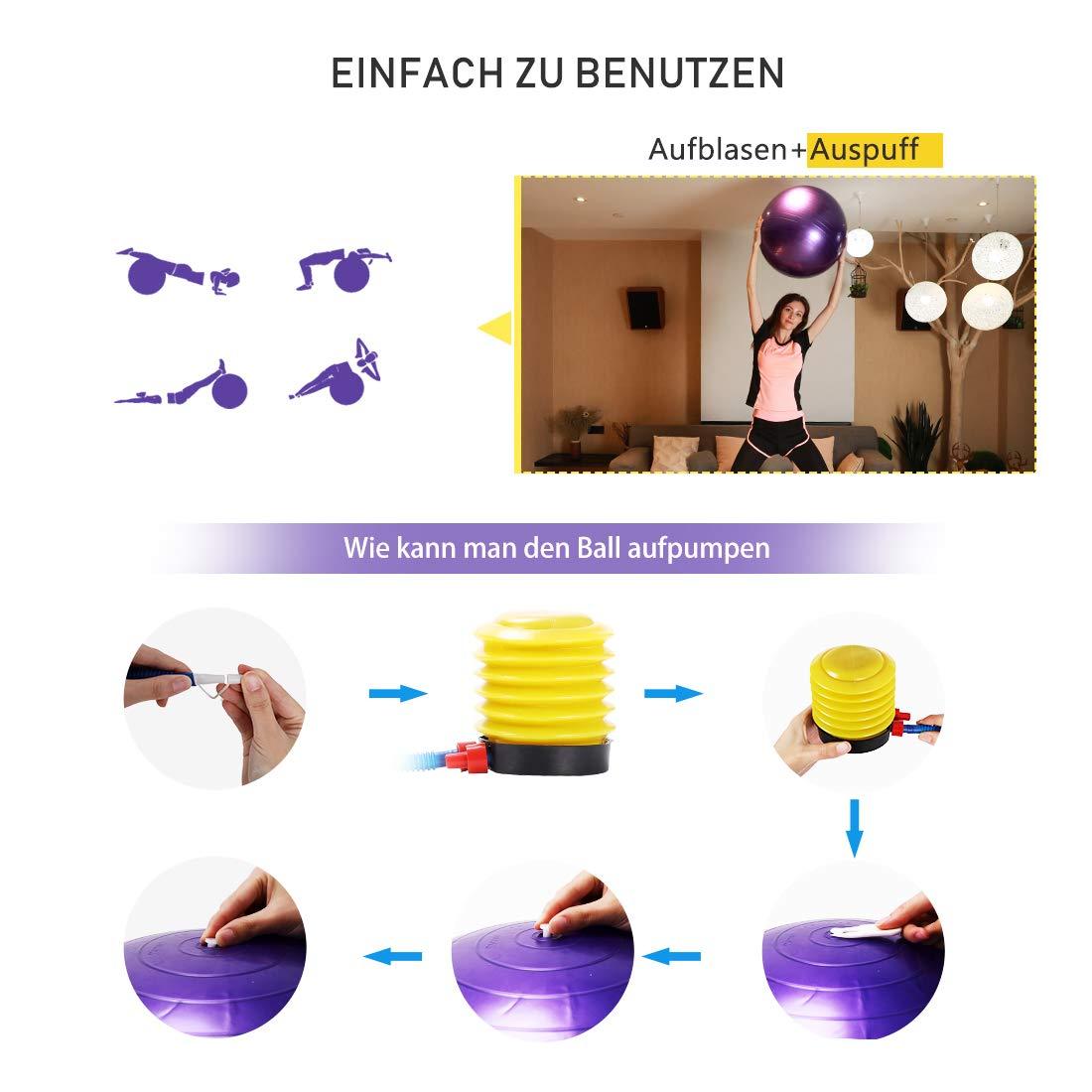 Pilates Fitness Fitness para Entrenamiento 75 cm 55 cm Yoga Antideslizante con Bomba de Aire no se oxida. 65 cm Pilates GWELL Pelota de Gimnasia