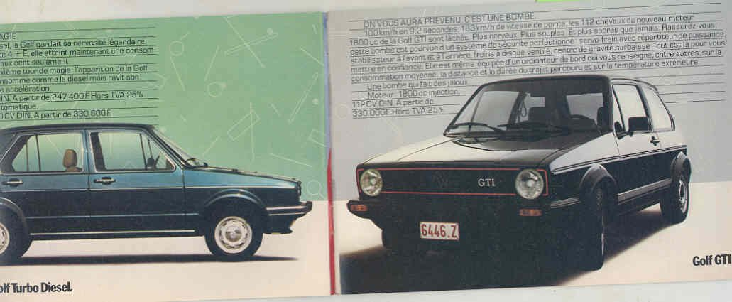 VW Golf GTi Passat Bus Audi Porsche 911 928 944 Brochure French: Entertainment Collectibles