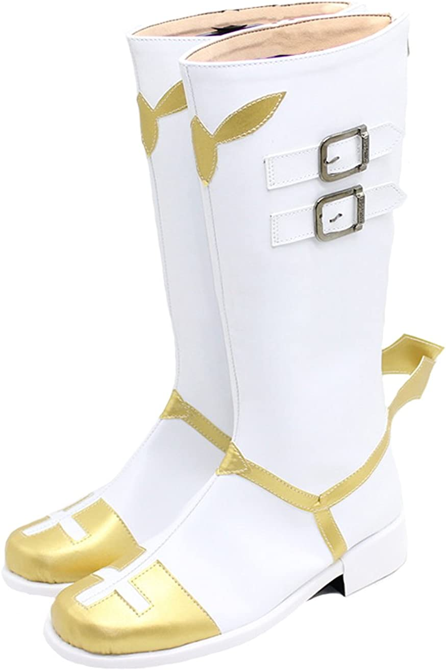 Xcoser Astolfo Cosplay Boots Fate Costume White PU Leather Shoes Anime Props Accessories
