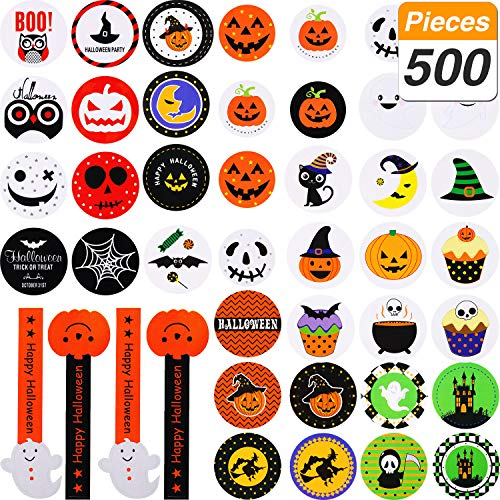 SATINIOR 500 Pieces Halloween Stickers 38 Types Halloween Sticker Sheets Assorted Color Adhesive Stickers for Cookie Candy Bag Stickers Halloween Party Bag Favours, 50 Sheets ()