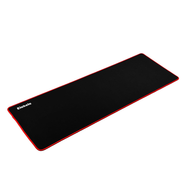 Alfombrilla de Gaming para Ratón - Dimensiones 900x300x3mm - Base de goma antideslizante - Superfície con textura especial (Rojo) Elekele MS1001