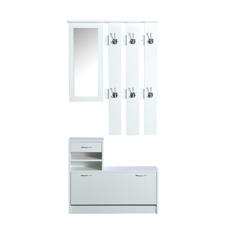 HOMCOM Conjunto de Muebles de Entrada Recibidor 2 Piezas Perchero Armario con Espejo 90x22x116cm y Zapatero