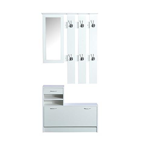 HomCom Conjunto de Muebles de Entrada Recibidor 2 Piezas Perchero Armario con Espejo y Zapatero con Cajón Estantería Blanco