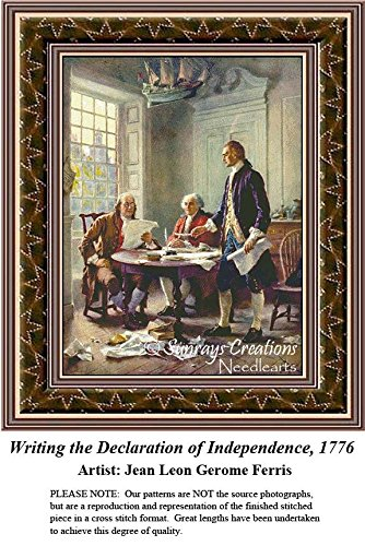 Patriotic Cross Stitch Patterns |Writing the Declaration of Independence, 1776 (Pattern Only, You Provide the Floss and Fabric)