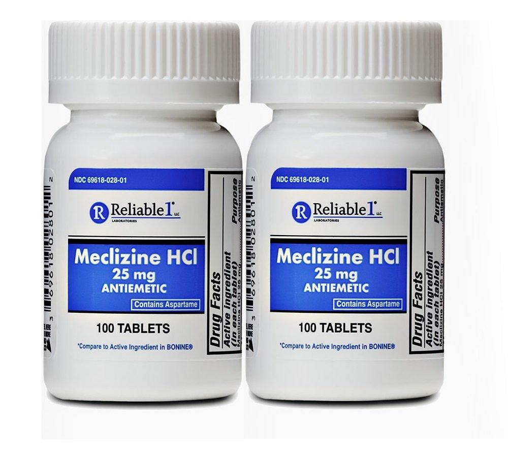 Meclizine 25 mg Generic Bonine Motion Sickness 100 Chew Tablets PACK of 2