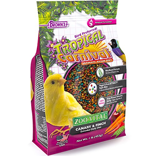 - F.M. Brown'S Tropical Carnival Zoo-Vital Canary & Finch Pellet Daily Diet With Probiotics For Healthy Digestion, 1-Lb Bag - Grain-Free, Rice-Based Formula, 100% Edible, Prevents Selective Eating