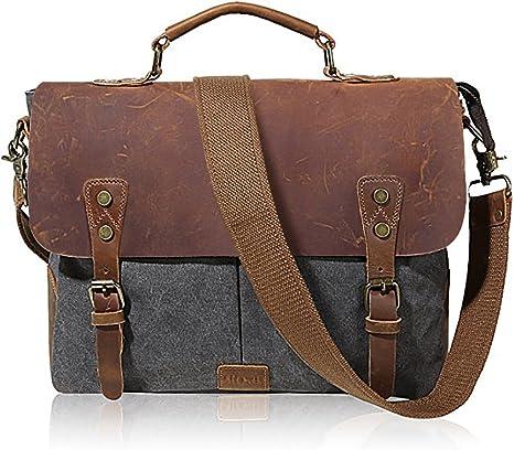iRuipai Umhängetasche Herren Ledertasche Laptop Tasche Männer Aktentasche Schultertasche Arbeitstaschen für 14 Zoll Laptop (Grey)