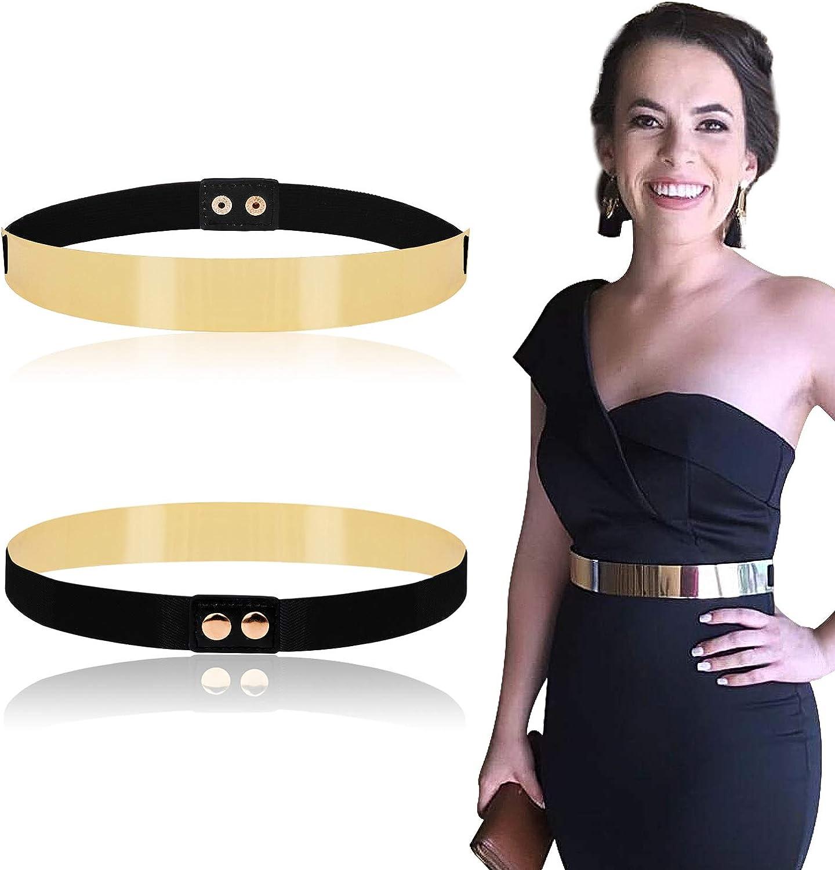 Women Elastic Metal Waist Belt Metallic Bling Gold Plate Slim Simple Band