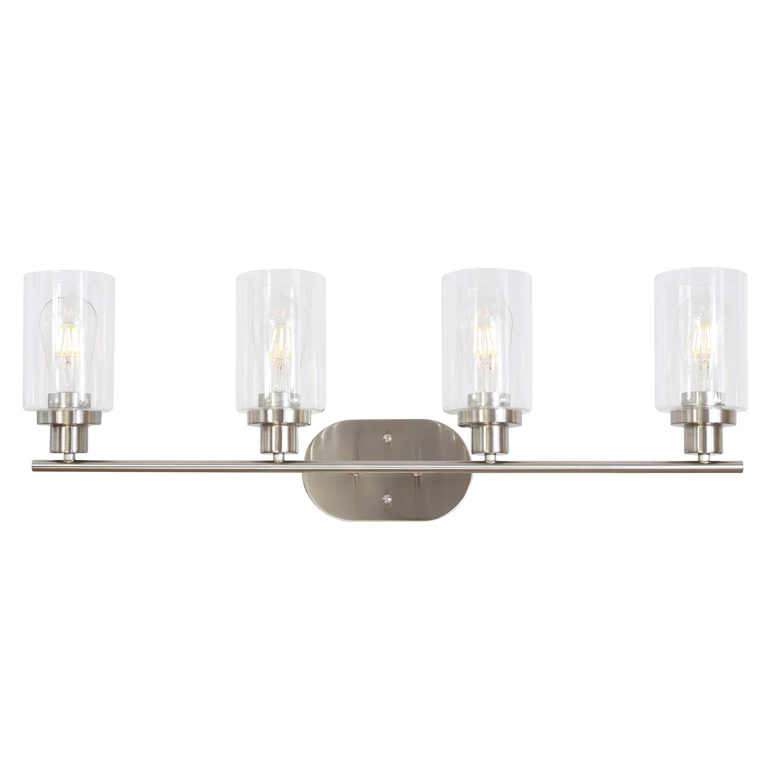 4 Light VINLUZ Wall Sconce Contemporary Stylish Bathroom Vanity Lighting Fixtures Brushed Nickel with Clear Glass