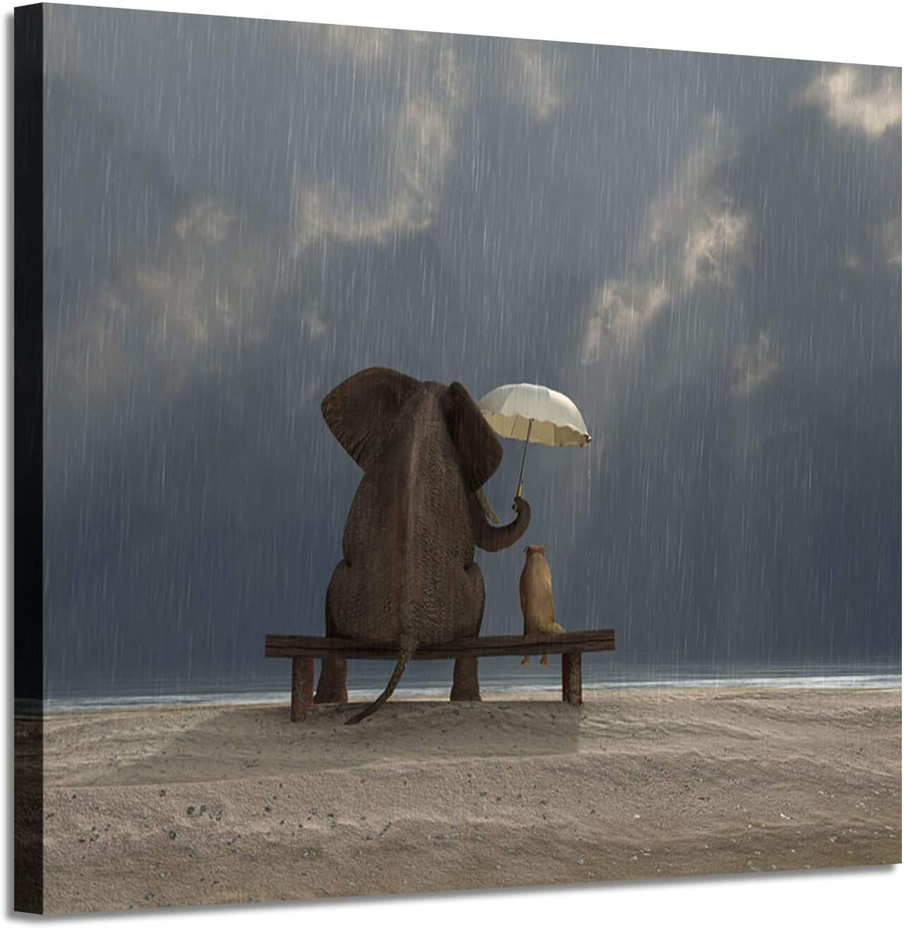 Elephant & Dog Picture Canvas Print: Best Friends of Animals Artwork Painting for Wall Art for Kids Room (24