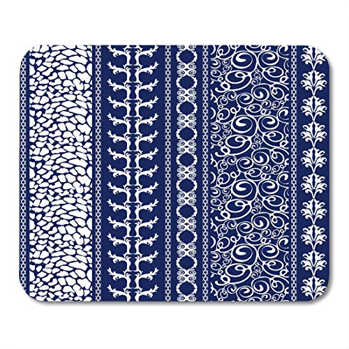 Nakamela Mouse Pads Creative Bohemian Borders Floral Animal Gypsy and Ethnic Motifs Retro Collection White on Dark Blue Mouse mats 9.5