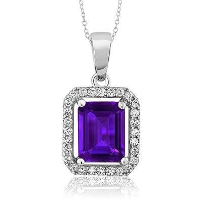 Amazon 925 sterling silver purple amethyst pendant necklace 925 sterling silver purple amethyst pendant necklace 261 ctw gemstone birthstone emerald cut aloadofball Gallery