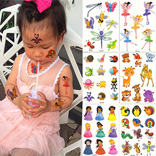 DaLin 6 Sheets Glitter Temporary Tattoos for Kids, Elves, Honeybee, Butterfly, Dragonfly, Little Fawn, Tiger and more, Perfect for -
