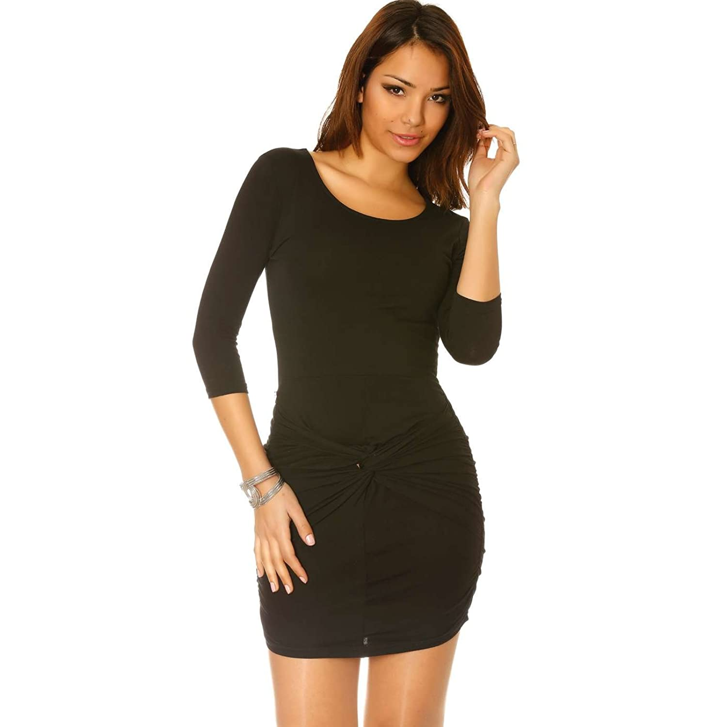 Miss Wear Line?-?Black Short Long Sleeve Crossover Front Dress