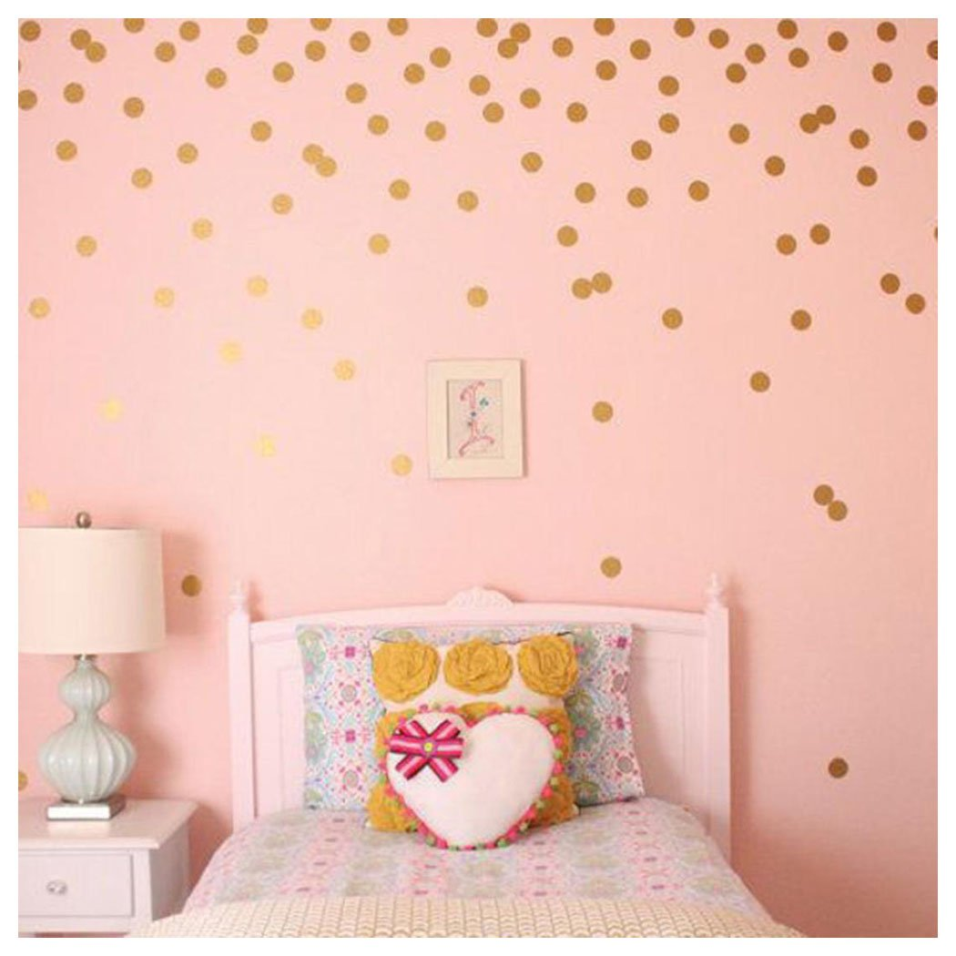 Polka Dots Wall Stickers, Inkach Gold Wall Decal Dots Removable Metallic  Vinyl Polka Dot Decor Nursery Painted Walls Art Stickers (E)