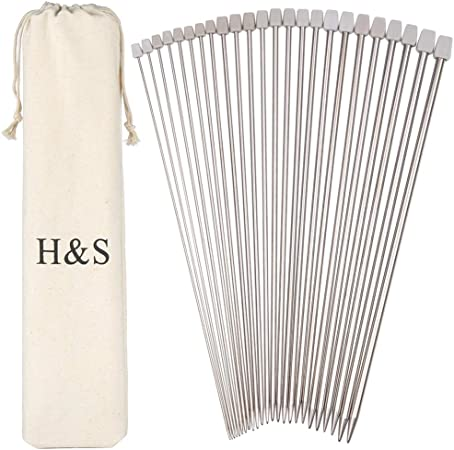 PAIR 35 CM/'S STAINLESS STEEL SINGLE POINT KNITTING NEEDLES,IN SIZES 2 MM-8 MM