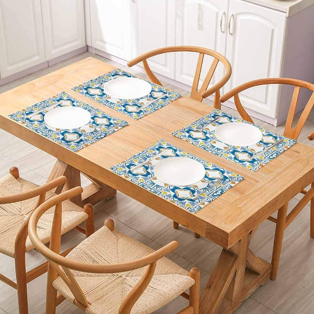 Amazon Com Floragrantnan Tables Heat Insulation Linen Kitchen Dining Pads Tunisian Mosaic With Azulojo Spanish Influence For Party Kitchen Dining Decorations Set Of 8 Home Kitchen