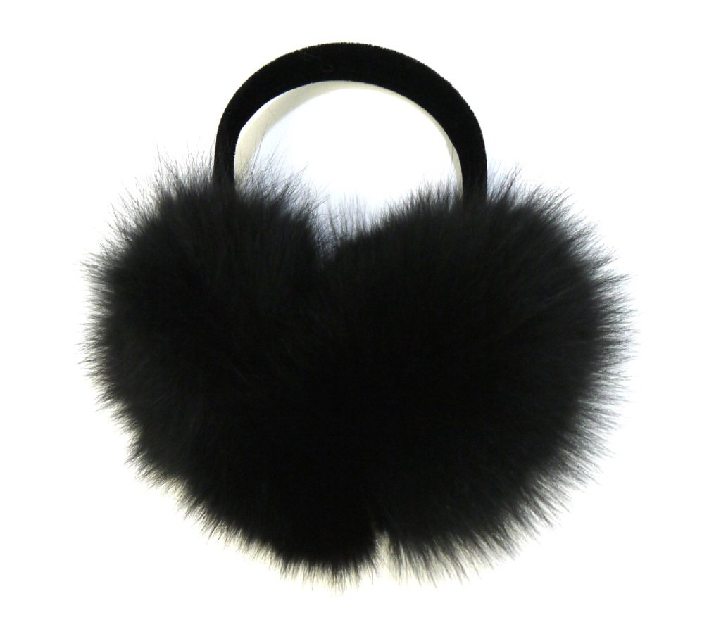 Real Fox Fur Earmuff (Black)