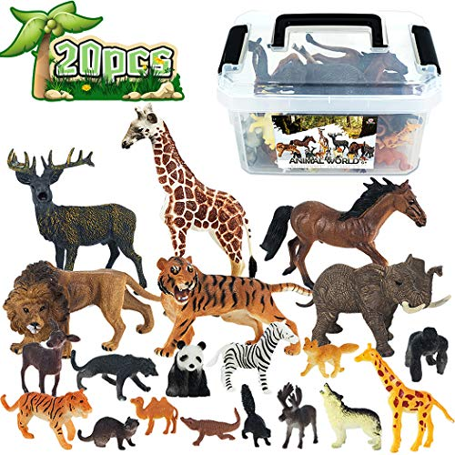 Mini Jungle Animals Toys Set,20 Piece Animals Figure,Cute and Realistic Wild Vinyl Plastic Animal Learning Party Favors Toys for Boys Girls Kids Toddlers Forest Small Animals Playset Cupcake Topper