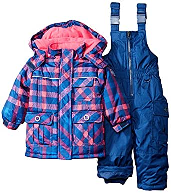 rugged bear baby girls 39 plaid snowsuit navy. Black Bedroom Furniture Sets. Home Design Ideas