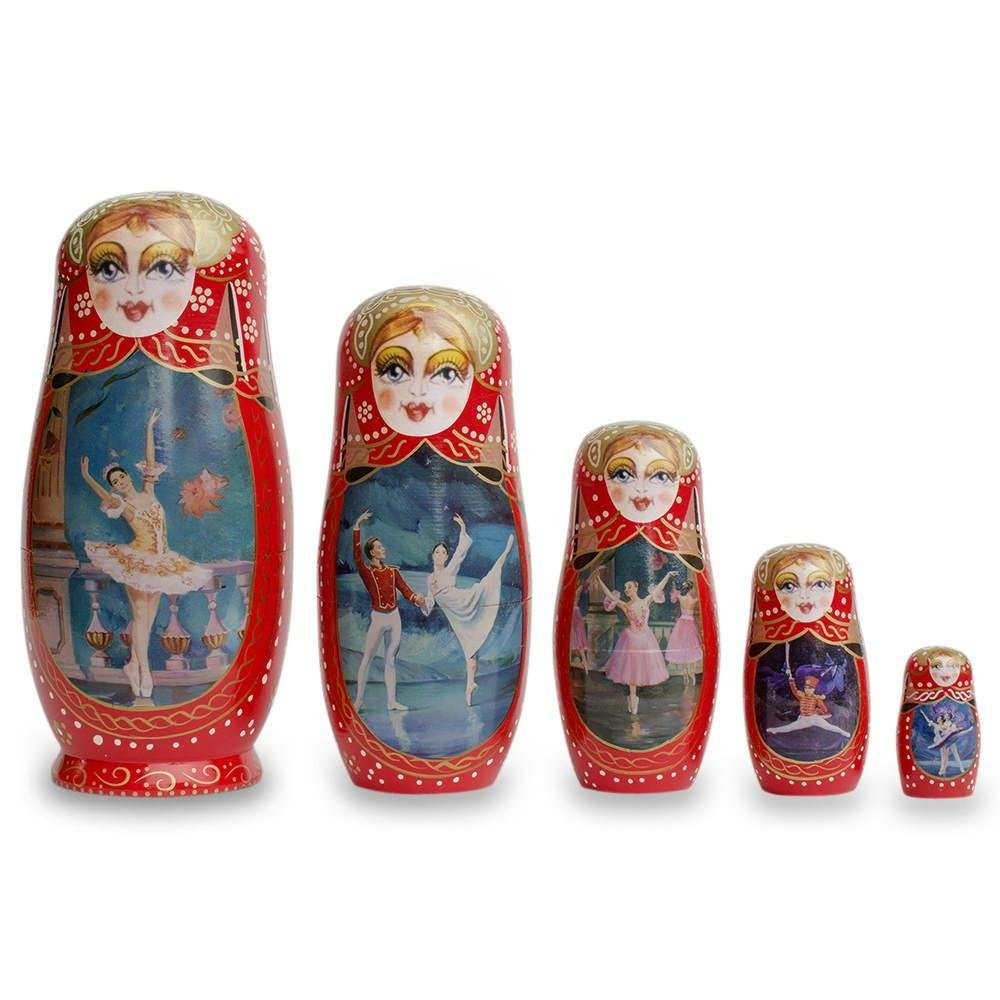 BestPysanky Set of 5 Russian Ballet Dancers Wooden Russian Nesting Dolls 8 Inches by BestPysanky