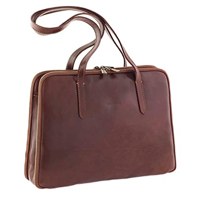 Chiarugi Italian Leather Briefcase Shoulder Bag - Brown 50%OFF