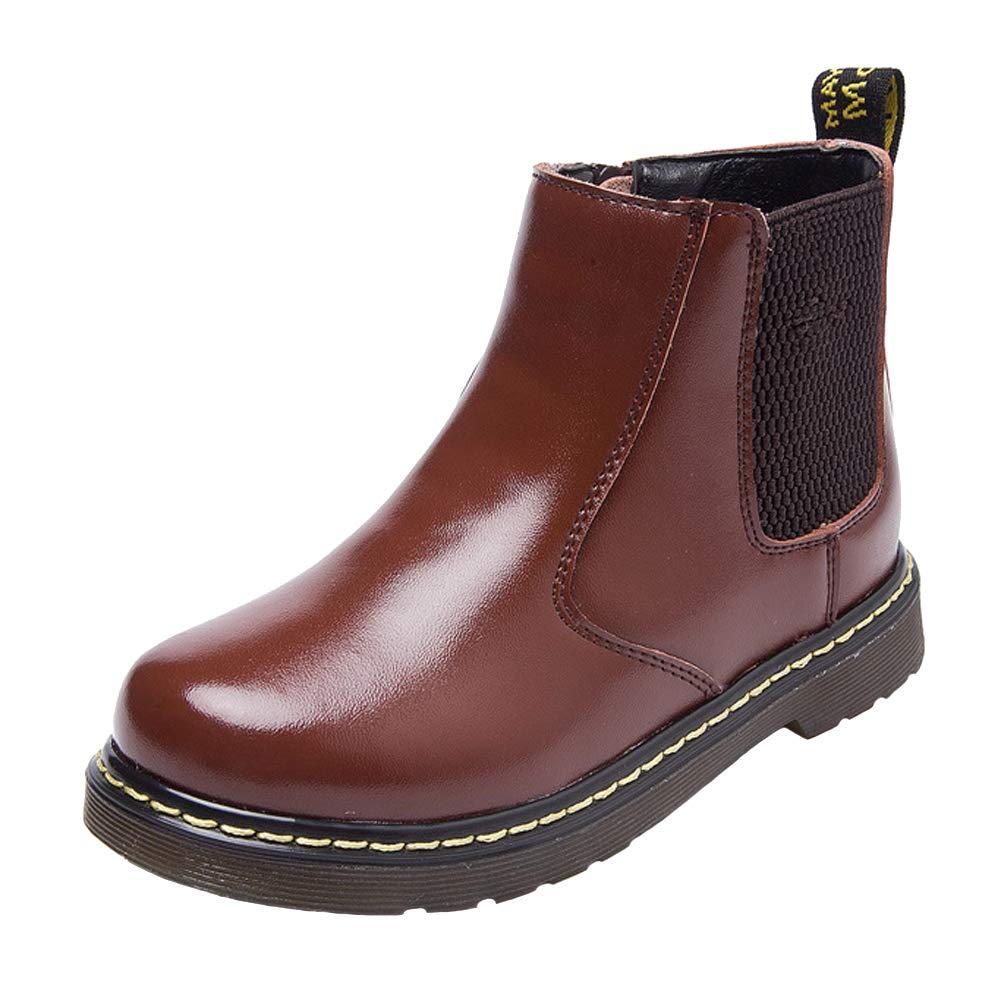 WUIWUIYU Boys' Girls' Fashion Waterproof Zipper Warm Fur Lined Ankle Boots(Toddler/Little Kid/Big Kid)