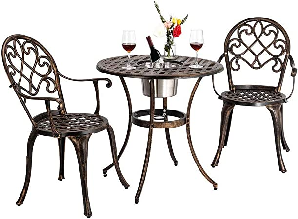 VBARV Mesa y Silla de combinación de Hierro Forjado, Juego de té de jardín para terraza