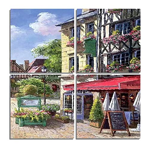 Hsuoi Art - 4 Panel Town Canvas Print Wall Art Painting for Living Room Decor and Modern Home Decorations (Four 12X12in,Town)