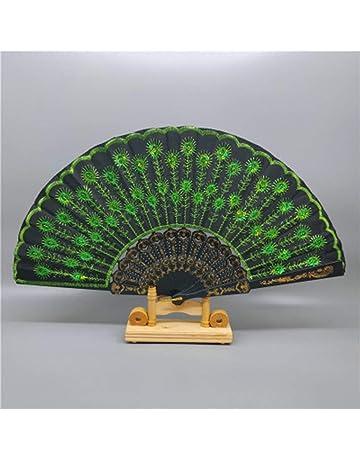 Práctico portátil modelo del pavo real plegable mano ventilador bordado de lentejuelas para fiesta de bodas