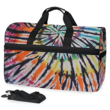 c71347117cb6 Image Unavailable. Image not available for. Color  TFONE Tribal Ethnic Tie  Dye Duffel Bag Sports Gym ...