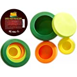 SAVER REUSABLE SILICONE FOOD PROTECTORS, Fruit and Vegetable STORAGE Containers, Food Stretch Lids, Food Caps for Jars and Cans, Set of 4, BPA-Free, PERFECT GIFT for Kitchen