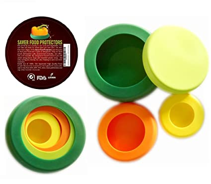 SAVER REUSABLE SILICONE FOOD PROTECTORS Fruit and Vegetable STORAGE Containers Food Stretch Lids  sc 1 st  Amazon.com & Amazon.com: SAVER REUSABLE SILICONE FOOD PROTECTORS Fruit and ...