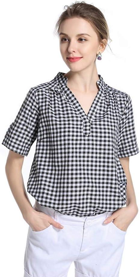 Cnsdy Camisas para Mujeres Camisa de Manga Corta a Cuadros con Cuello en v Camisa de Manga Larga: Amazon.es: Deportes y aire libre