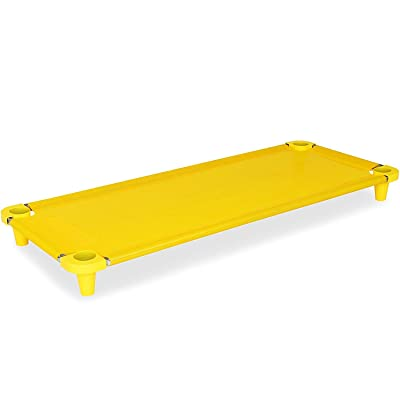Acrimet Premium Stackable Nap Cot (Stainless Steel Tubes) (Yellow Cot - Yellow Feet) (1 Unit): Toys & Games