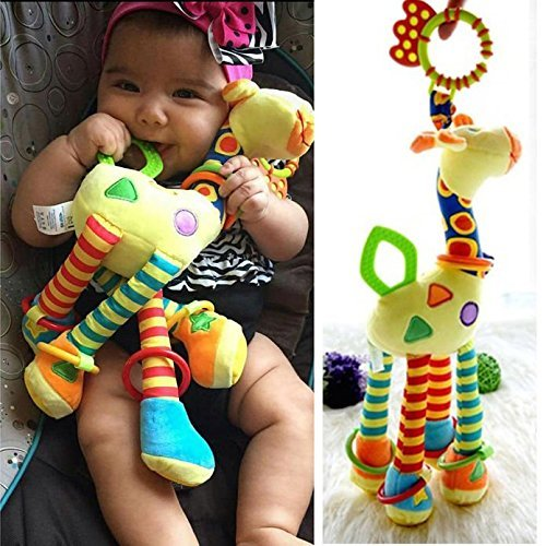 Infant Baby Development Soft Giraffe Animal Handbells Rattles Handle Toys LO by New