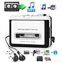 Cassette Player-Cassette Tape To MP3 CD Converter Via USB,Portable Cassette Tape Converter Captures MP3 Audio Music,Convert Walkman Tape Cassette To MP3 Format,Compatible with Laptops Mac and Personal