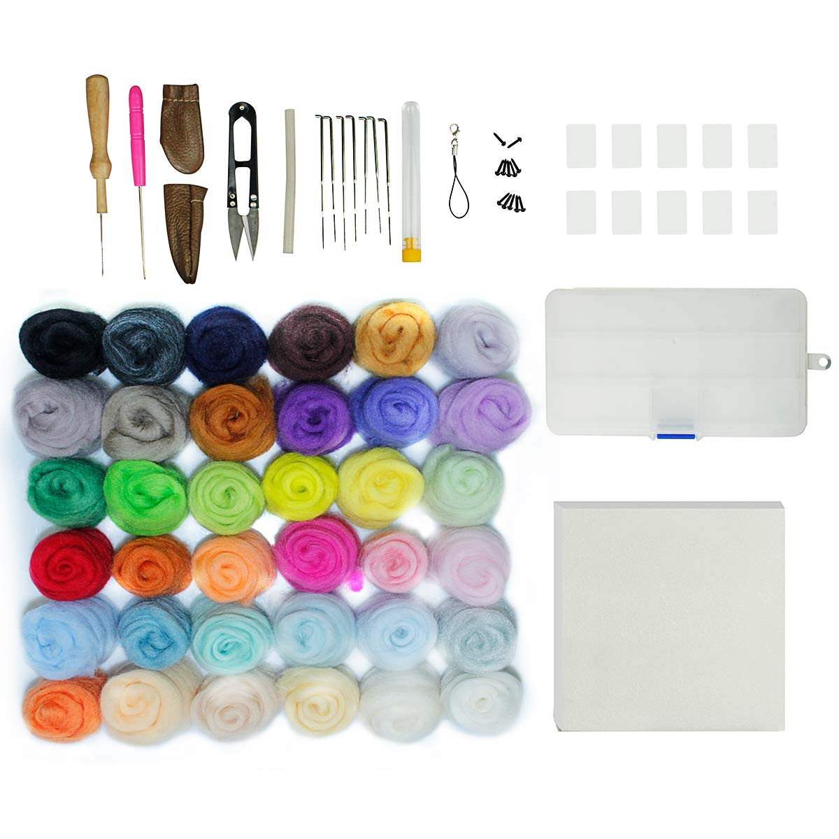 Needle Felting Kit 36 Colors Wool Roving Set Craft DIY Tool Kit for Felted Animal Gift Present Aneforall