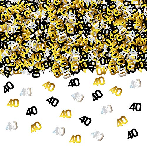 40th BIRTHDAY and ANNIVERSARY CONFETTI - 1.7 Oz | Gold Black and Silver 40 Number Confetti | 40th Birthday Party Supplies | Metallic Foil Confetti for Table Decorations ()