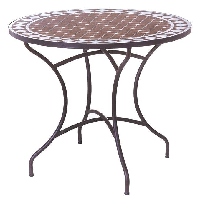 Mesa de jardín de Hierro y Mosaico marrón para terraza Garden ...